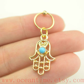 cartilage earring,hamsa hand Tragus Earring,Turquoise Cartilage Hoop,helix Earring,tragus ear Helix Cartilage jewelry,oceantime