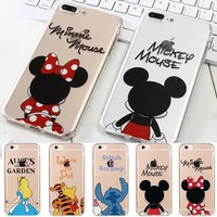 Minnie Mickey Mouse Pooh Bear Tigger Stitch Alice Shockproof Soft TPU Cover Case For iPhone X 8 6 6S 7 Plus