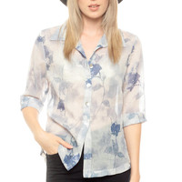 Sheer Floral Blouse Blue White Watercolor Flower Print Button Up Shirt Fitted 80s Collar Top Romantic Grunge Vintage Short Sleeve Small
