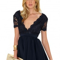 Missguided - Aleena Lace Plunge Neck Puffball Dress In Navy