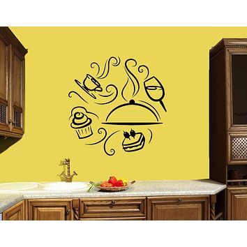 Wall Decal Wine Coffee Cupcake Sandwich Kitchen Decor Food Dish Vinyl Sticker (ed921)