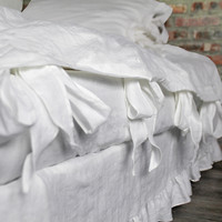 Bow Ties Soft Washed French Linen Duvet Cover