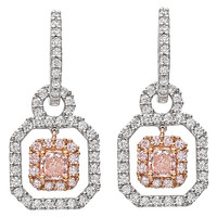 Pink and White Diamond Gold Drop Earrings