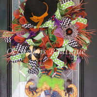 Wicked Witch Halloween Wreath, Halloween Decoration, Halloween Party Decor, Large Wreath, Double Door Wreaths, Very Limited Availability