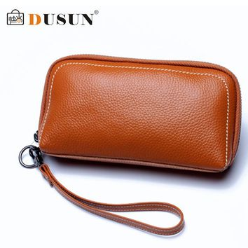 DUSUN Long Wallet Women Genuine Leather Wallets Fashion Solid Black Coin Purse Black Vintage Bags Ladies Cluth Feminina 2017
