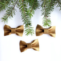 Gold Christmas Ornaments Christmas Decorations Leather Ornaments Gold Christmas Decor Christmas Tree Holiday Decor Bow Tie Gift Set of 3