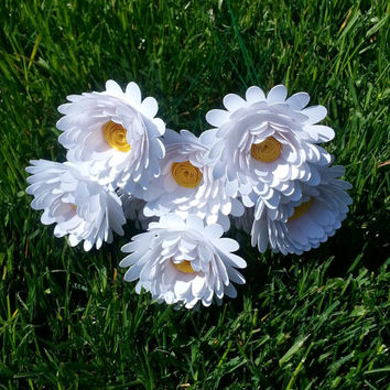Paper Flower Bouquet - 6 White Daisies - Handmade Paper Flowers for Brides, Weddings, Showers, Birthdays