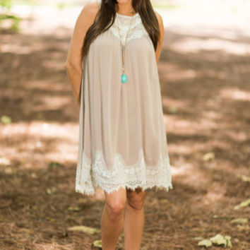 Just The Little Things Dress, Tan