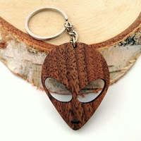 Wooden Alien Head Keychain, Walnut Wood, UFO Keychain, Sign Keychain, Environmental Friendly Green materials