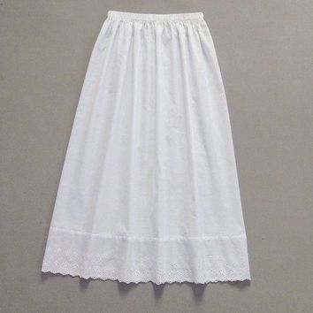 Female 100% cotton slip basic half-length skirt lace embroidery half slip loose basic lining single tier