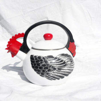 Vintage Teapot, Chicken Rooster Hen Kitchen Decor; Mid Century Farm Kitchen Country Decor