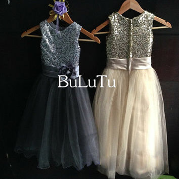 Cheap Sale!!! champagne sequin dress, flower girl dress Junior Bridesmaid Baptism Infant Toddler Dress
