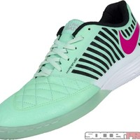 Nike FC247 Lunar Gato II Indoor Soccer Shoes- Green Flash and Pink Foil - SoccerPro.com