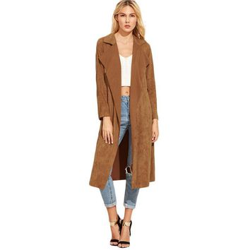 Brown Suede SelfTie Trench Coat