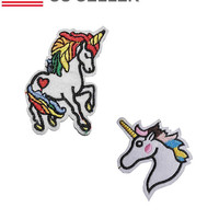 UNICORN Iron on / sew on Embroidery Patch Badge Embroidered RAINBOW Motif