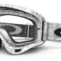Oakley O-Frame MX Factory Text Goggles with Clear Lens (White, One Size)