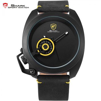 Official Release Tawny Shark Sport Watch - (Yellow, Special Date, Classic Design, Leather Band, Military Tag, Waterproof Quartz Men Watches / SH448 )