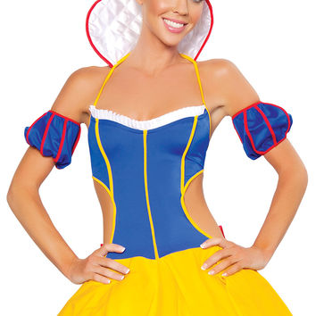 Snow White Off Shoulder Backless Cut-Out Skater Dress Costume