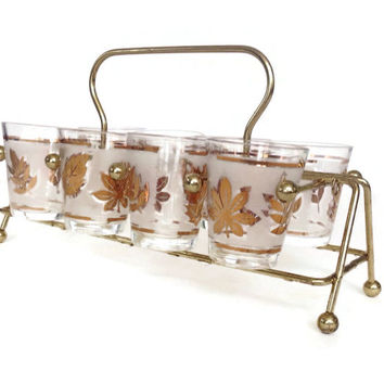 Mid Century Barware Shot Glasses and Metal  Caddy Starlyte Gold Leaves Frosted Band Set of 8 Vintage Bar Cocktail Glasses Retro Mad Men