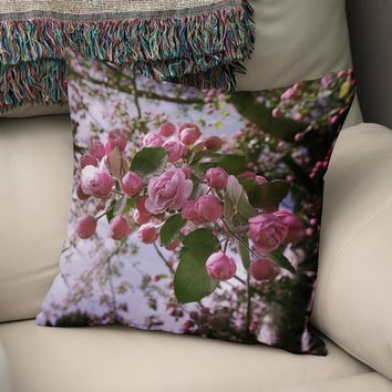 Apple Blossoms Pink Floral Throw Pillow Cover- 5 Sizes
