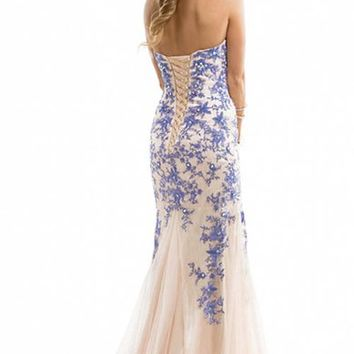 Miranda Blue Evening Prom Ball Dress Strapless Lace up Gown Size 4-14 (8)