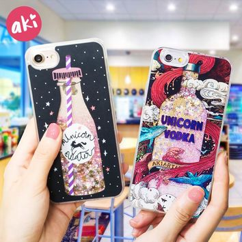 AKI Glitter Liquid Phone Case for iPhone 7 Plus iPhone 6 Plus Case Bling Quicksand Unicorn Sequins for iPhone X iPhone 8 6s Plus