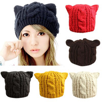 Beanie Lady Winter Skullies Warm Cat Ears knitted hats