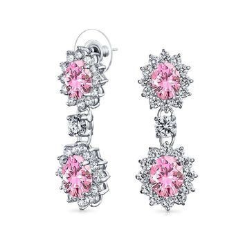 Pink Oval CZ Prom Statement Dangle Earrings Topaz Silver Plated