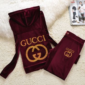 Gucci New pleuche velvet casual wear tracksuit cultivate one's morality Wine red