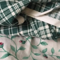 Destash Cotton Green Fabric Checkered and Floral