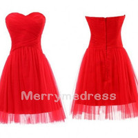 Red Cross Ruffled Sweetheart Strapless A-Line Short Bridesmaid Dress, Mini Tulle Formal Evening Party Prom Dress New Homecoming Dress