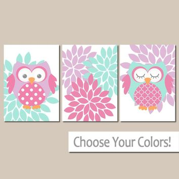 GIRL OWL Wall Art, Owl Nursery, Owls Canvas or Print, Baby Girl Decor, Girl Owl Bedroom Wall Decor, Aqua Purple Flower Burst, Set of 3