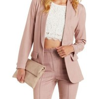 Violet Love & Air Longline Shawl Lapel Blazer by Charlotte Russe