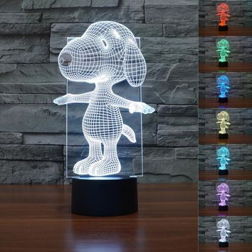 Peanuts Charlie Brown Woodstock Puppy Dog Action Figure Toy Night Light Color Changing Cartoon Anime Sleep Lamp Kids Birthday
