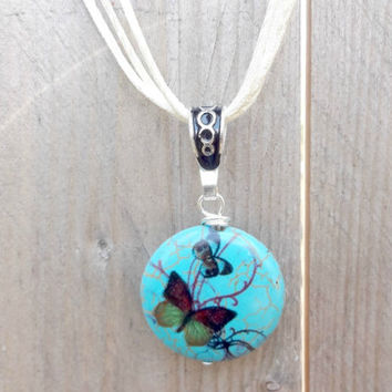 Mothers Day Jewelry, Butterfly Lampwork Necklace, Butterfly Pendant, Turquoise Lentil Bead Pendant Necklace, Silk Cord Necklace