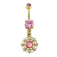 Prong Set Gold Plated Pink  Opal CZ Dangle 316L Surgical Steel Navel Belly Ring