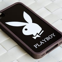 PLAYBOY case , Personalized iphone case , Unique iphone 4 case , iphone 4s case , PLAYBOY BROWN iPhone Bumper Case