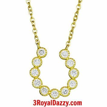 14k Yellow Gold layer on 925 Sterling Silver Crystal CZ Horseshoe Charm Necklace