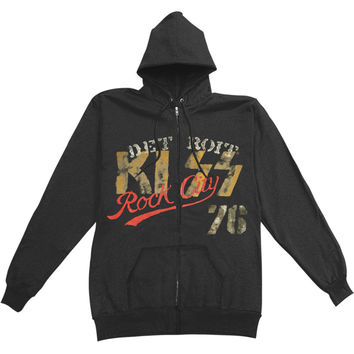 KISS Men's  Detroit Zippered Hooded Sweatshirt Black Rockabilia