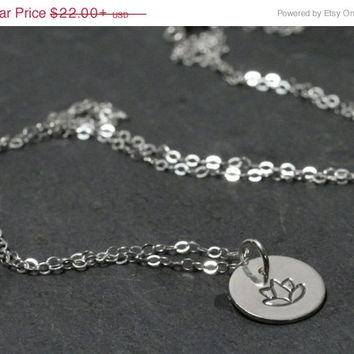 SALE 20%off Sterling Silver Lotus Blossom Disc Coin Charm Pendant Necklace Personalized Gift for Her