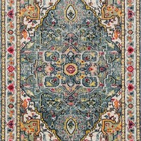 2415 Blue Multi-Color Colorful Persian Area Rugs