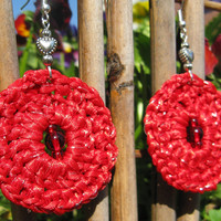 SALE - Sparkling Ribbon Crochet Earrings in Red with Glass and Metal Heart Beads, Dangling, No. 4