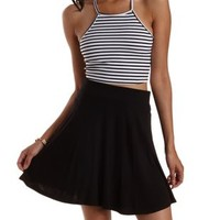 Black/White Striped Caged Back Crop Top by Charlotte Russe