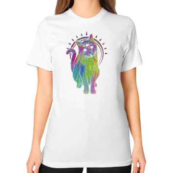 Psychic psychedelic trippy cat Unisex T-Shirt (on woman)