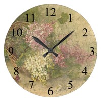 Vintage Aged Chic Flowers Wall Clock