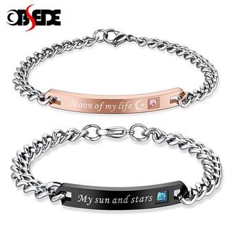 OBSEDE Fashion Couple Stainless Steel Bracelet Moon of My Life My Sun and Stars for Women Men Jewelry for Valentine's Day Gift