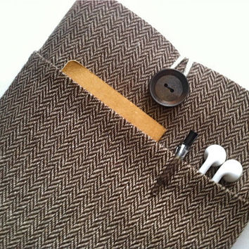 "Unisex Men's 11"" Chromebook Sleeve Cover or Microsoft Surface Case - Herringbone"