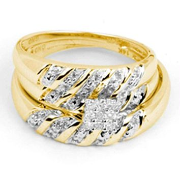 14kt Yellow Gold His & Hers Round Diamond Cluster Matching Bridal Wedding Ring Band Set 1/10 Cttw - FREE Shipping (US/CAN)