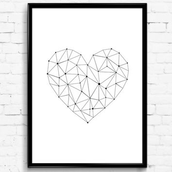 Simple Geometric Heart Black and White Wall Print, Download Poster, Digital Art, Gift
