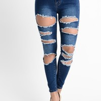 High Waisted Destroyed Skinny Jeans RJH801 - C13G